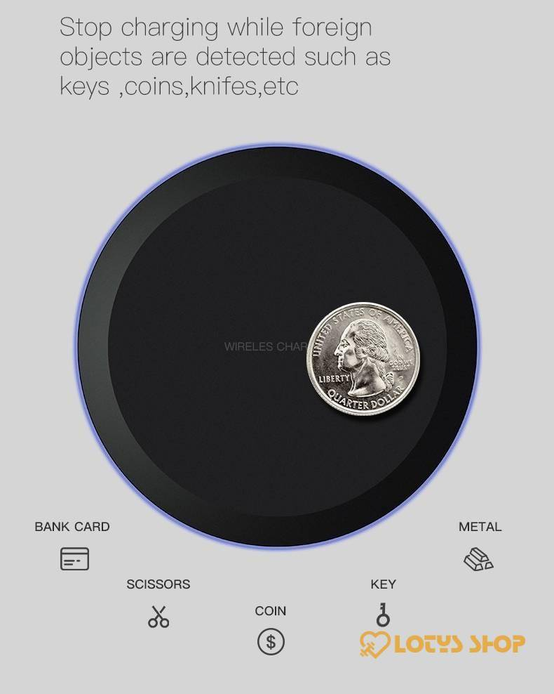 Round Shaped Qi Wireless Charger for Smartphones