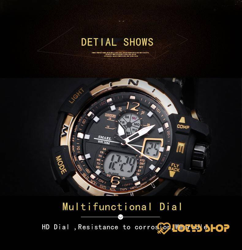 Digital Quartz Sports Watches With Dual Display for Men Accessories Men's watches Watches color: All Red Black / Blue Black + Gray Black Golden Black Green Black Orange black red Black Rose gold Rose Golden