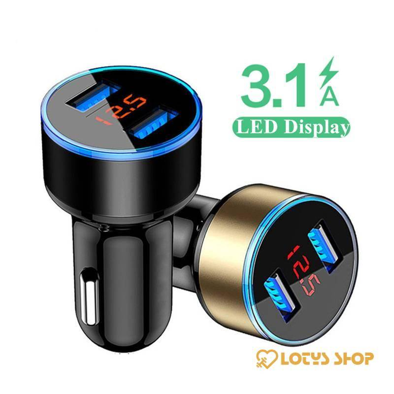 LED Display Dual USB Car Chargers Accessories Chargers Mobile Phones color: Black|Blue|Gold|Red|Silver