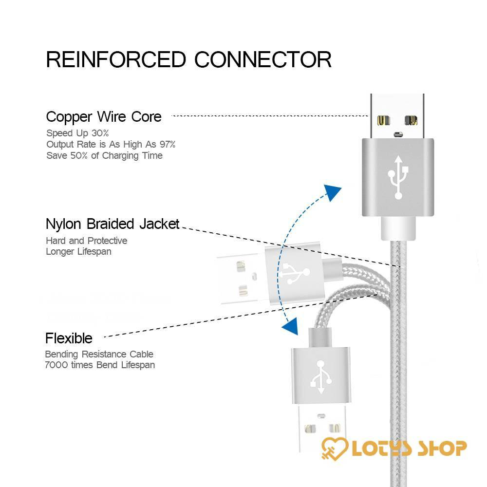 Candy Color Braided Micro USB Cable Charger Accessories Cables Mobile Phones color: Black|Blue|Gold|Silver