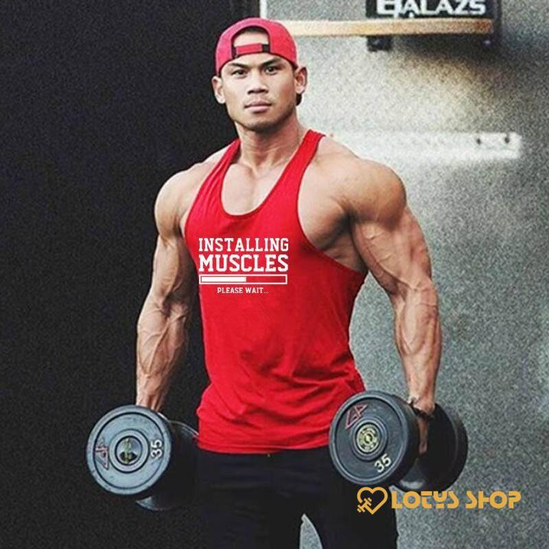 Men's Printed Cotton Fitness Tank Top Men's sport items Men's t-shirts Sport items color: Black|Blue|Gray|Red|White