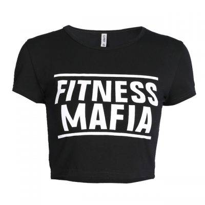 Fitness Mafia Print Women's Crop T-Shirt Sport items Women Sport Tops Women's sport items Women's T-Shirts color: A1