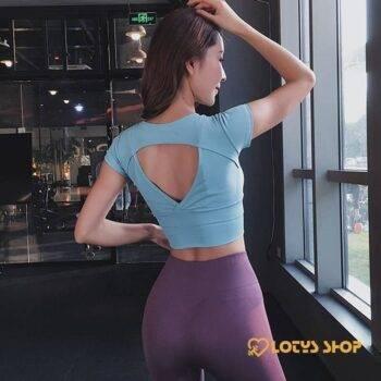 Women's Sport T-Shirt with Back Cut Sport items Women Sport Tops Women's sport items Women's T-Shirts color: Black|Blue|Green|Orange|Pink|Purple