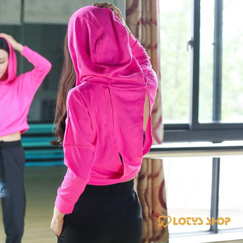 Women's Geometric Back Hooded Top Sport items Women Sport Tops Women's sport items color: Black|Rose red