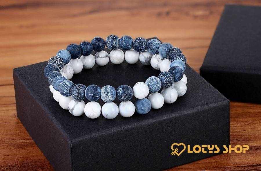 Natural Stone Beaded Bracelets Pair for Couples