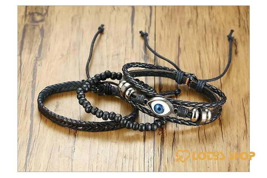 Women's Braided Leather Bracelets Set