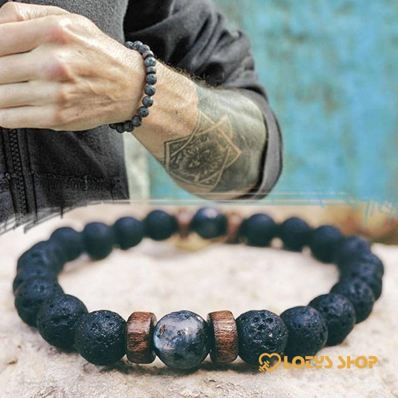 Men's Natural Moonstone Beaded Bracelets Accessories Jewelry color: Black|Black / Blue|Black/Grey|Blue|Blue/Black|Blue/Grey|Brown/Navy|Dark Grey|Dark Grey/Black|Grey|Grey 2|Royal blue