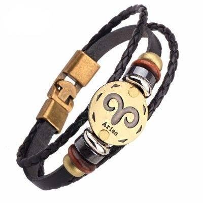 Men's Zodiac Sign Leather Charm Bracelet Accessories Jewelry d0c31fe4ee57826486d441: Aquarius Aries Cancer Capricorn Gemini Leo Libra Pisces Sagittarius Scorpio Taurus Virgo
