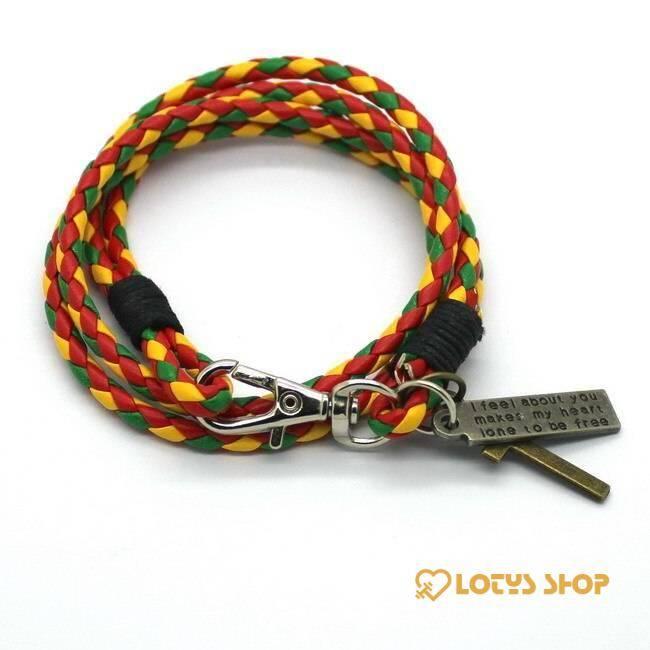 Men's Cross Charm Braided Leather Bracelet