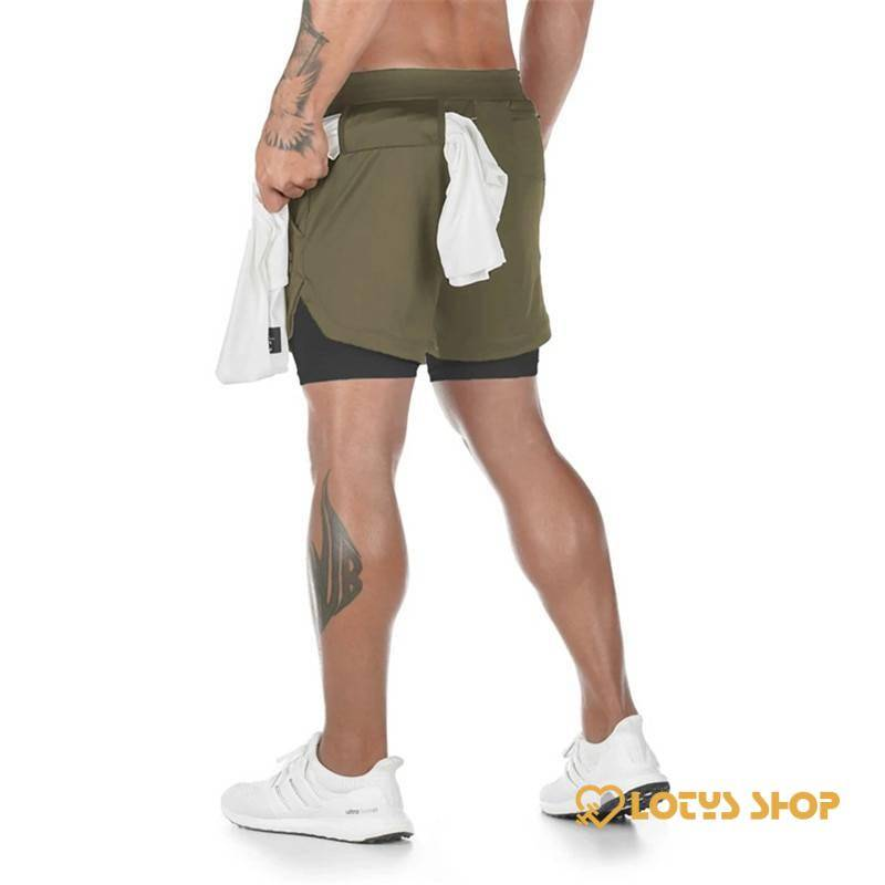 Men's Fitness Shorts with Towel Holder