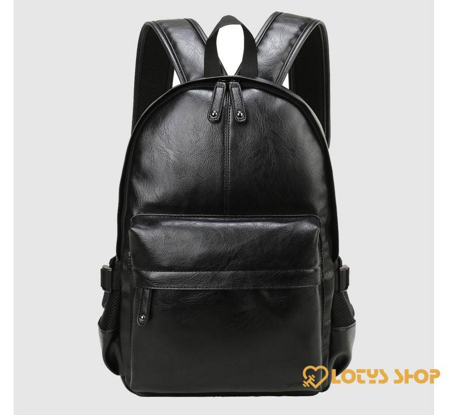 Men's Solid Color Eco-Leather Backpack