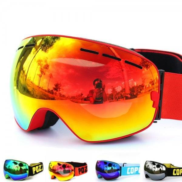 Unisex Anti-Fog Ski Goggles Outdoor Sports color: All Black|Black Frame Red Lens|Blue Lens Black Fram|Frame Black|Frame Blue|Frame Green|Frame Orange|Frame Pink|Frame Red|Frame White|Lense Silver|Orange and Black|White Black|White Pink|white purple|White Silver