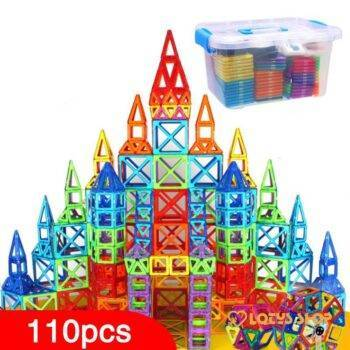 Kid& Magnetic Building Blocks Kit Toys Toys color: 110 pcs|110 pcs with Box|128 pcs|128 pcs with Box|142 pcs|142 pcs with Box|184 pcs|184 pcs with Box|252 pcs|252 pcs with Box