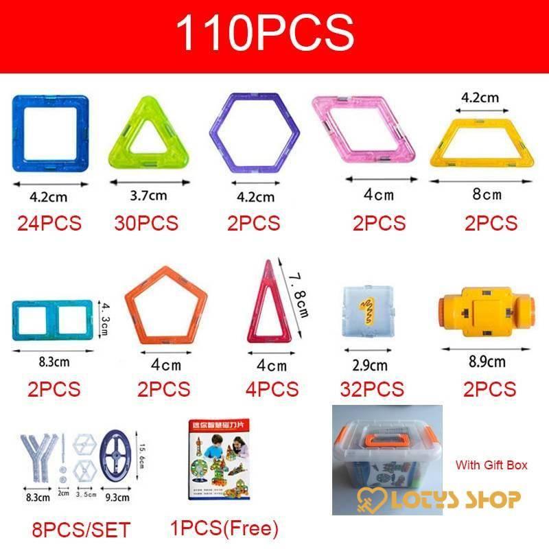 Kid&Magnetic Building Blocks Kit Toys Toys color: 110 pcs|110 pcs with Box|128 pcs|128 pcs with Box|142 pcs|142 pcs with Box|184 pcs|184 pcs with Box|252 pcs|252 pcs with Box