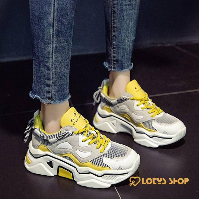 Casual Lace Up Women's Sneakers Sport items Women Sport Shoes Women's sport items color: Blue|Gray|Light Yellow|Yellow