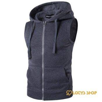 Men's Sleeveless Sport Hoodie Outdoor Sports color: Black|Brown|Dark Gray|Gray