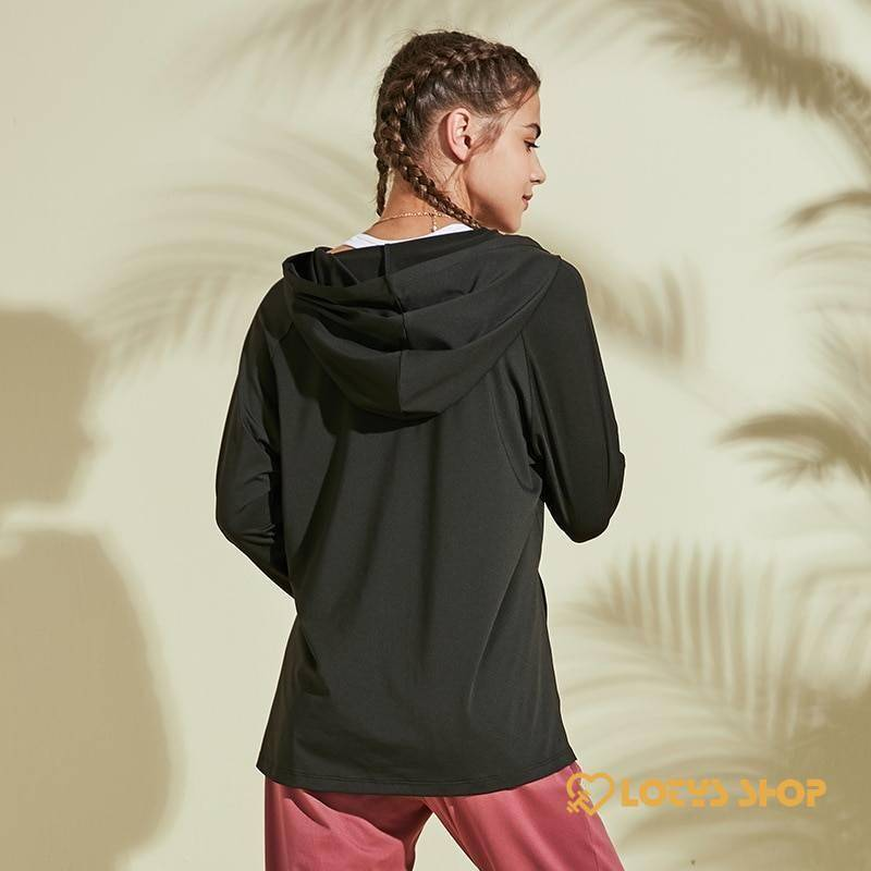 Women's Hooded Long Sleeve Fitness Top Outdoor Sports color: Black Pink White