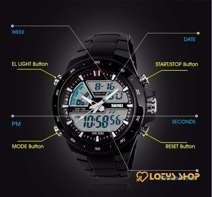Women's Sports Dual Time Zone Digital Watch Accessories Watches Women's watches color: Black|black red|black white|Blue|Gold|Green|Orange|White