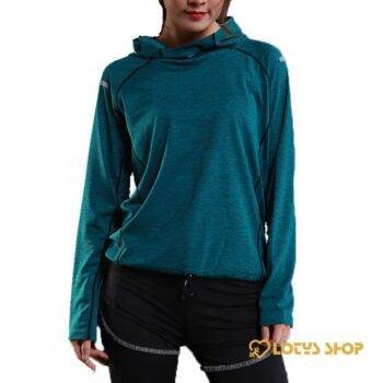 Women's Workout Quick Dry Hoodie Outdoor Sports color: Blue Grey Red