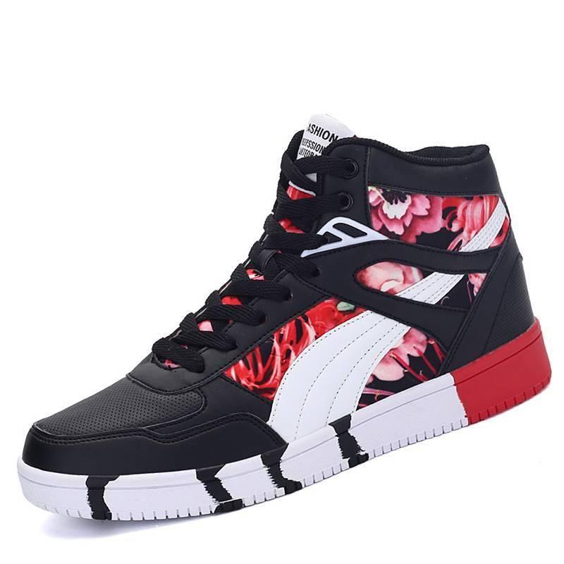 Luxury Hip Hop Autumn High Top Sneakers Men Sport Shoes Men's sport items color: Black|black red|Blue