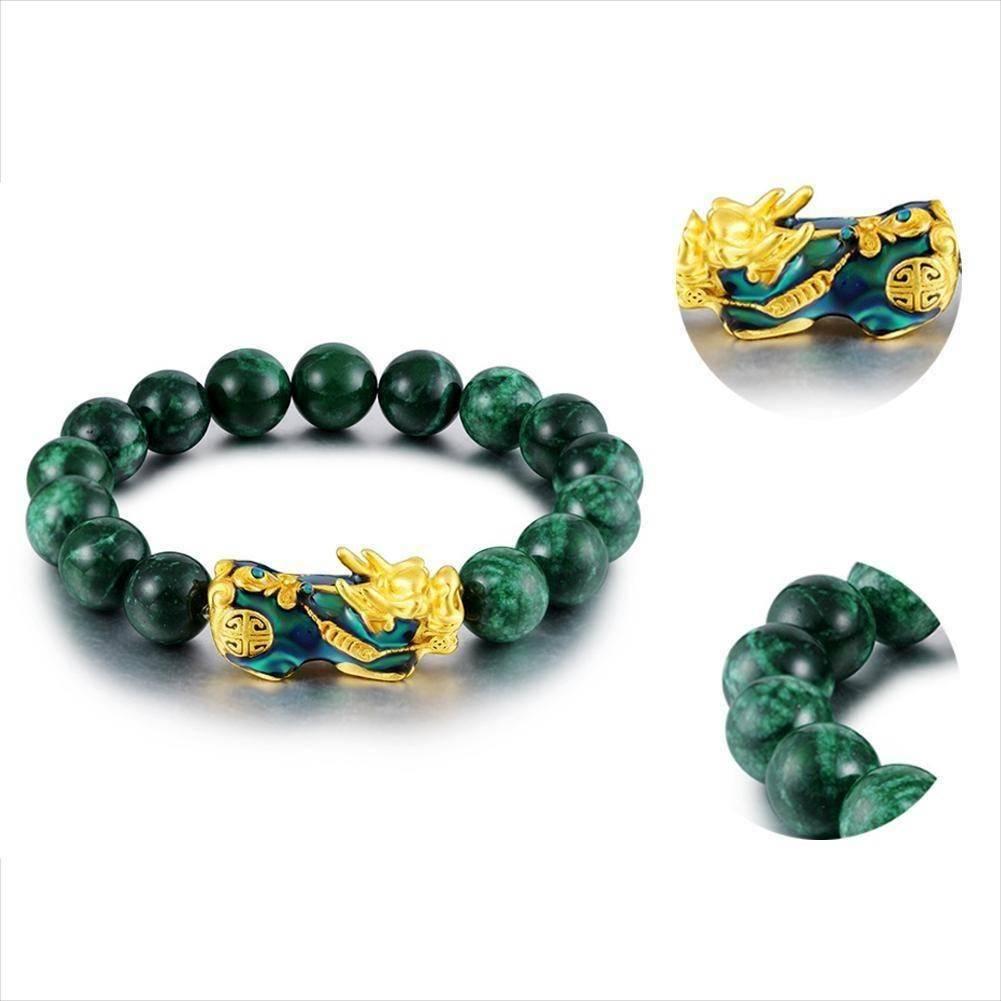 Unisex Feng Shui Style Green Beads Bracelet